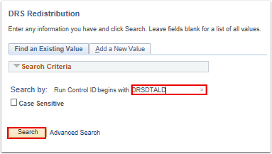 DRS Redistribution search page