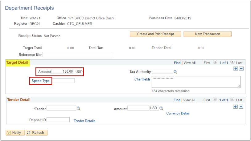 Depatment Receipts AMount and SpeedType highlighted