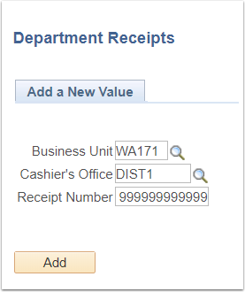 Department Receipts - Add a New