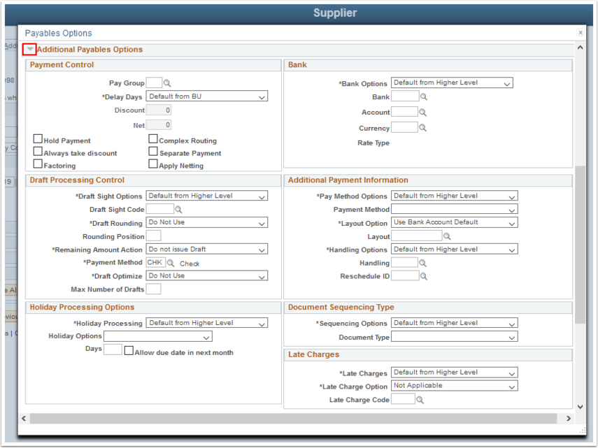 Payables Options page - Additional Payables Options section