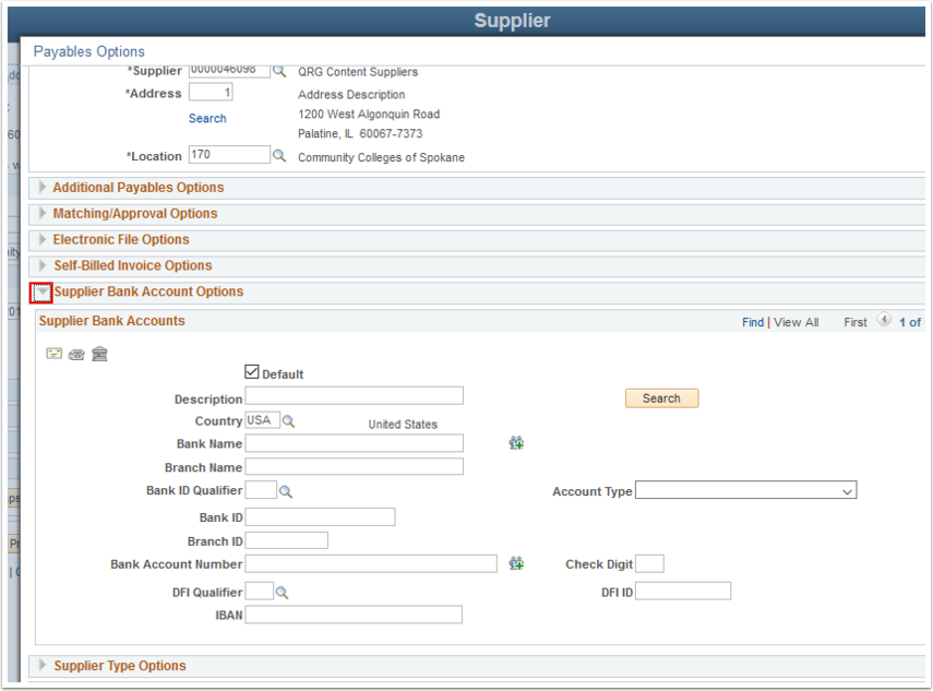 Payables Options page  - Supplier Bank Account Options section