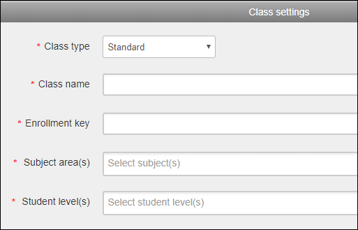 Add class name, enrollment key/password, subject areas, and student levels which are required fields