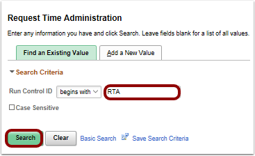 Request Time Administration run control page