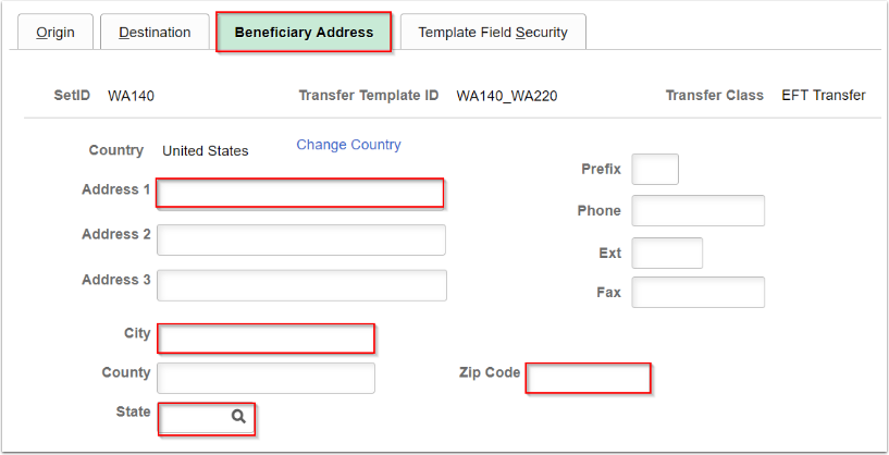 Beneficiary Address tab