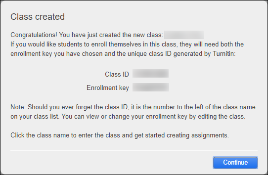 Class created notification with the class ID and enrollment key