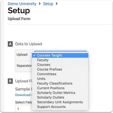 Data to Upload: Select the type of data upload you want to perform