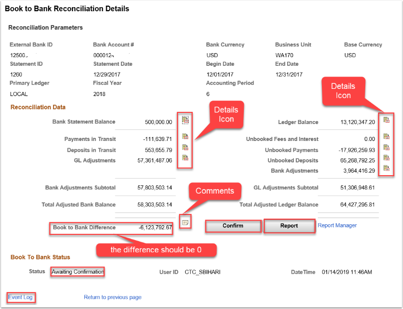 Book to Bank Reconciliation Details page