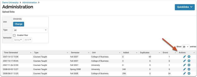 Sample of the Upload Data page. Click the EDIT arrow to the right to access individual upload records.