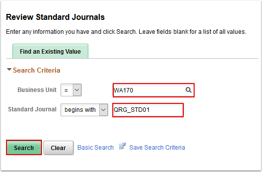 Review Standard Journals search page
