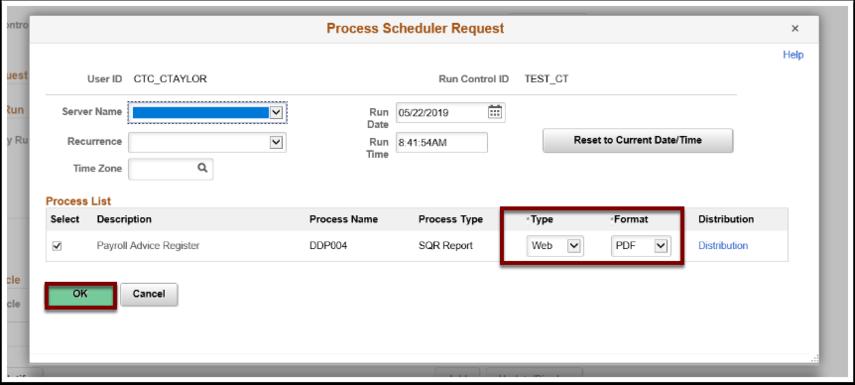 Process Scheduler Request window