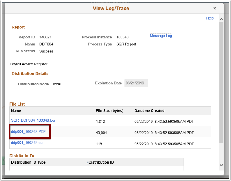 View Log Trace page