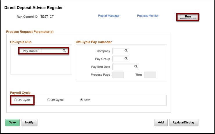 Direct Deposit Advice Register