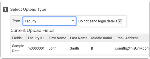 """In the """"Select Upload Type""""section, select """"Faculty"""" from the drop down menu:"""