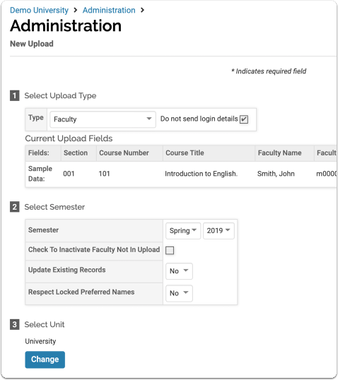 After selecting Faculty in the Type field, the page will update to display the upload form for that data type.