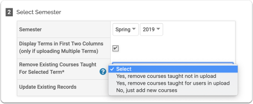 Courses Taught Upload Options