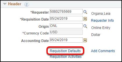 Requisition header
