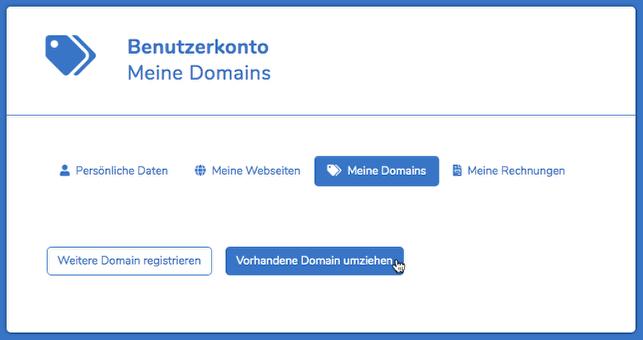 """Im Reiter """"meine Domains"""", klicke auf """"vorhandene Domain umziehen""""."""