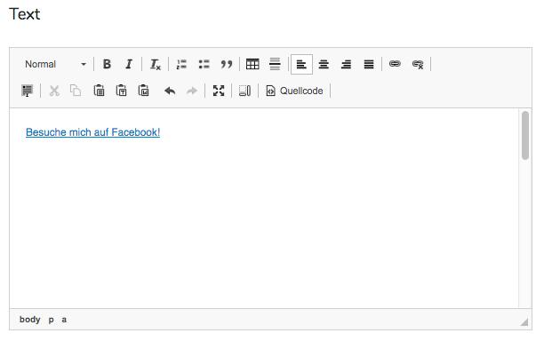 1. Lege einen Abschnitt an, der einen Link enthält.