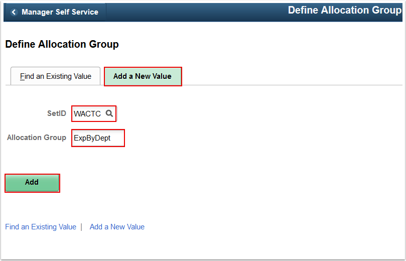 Define Allocation Group search page