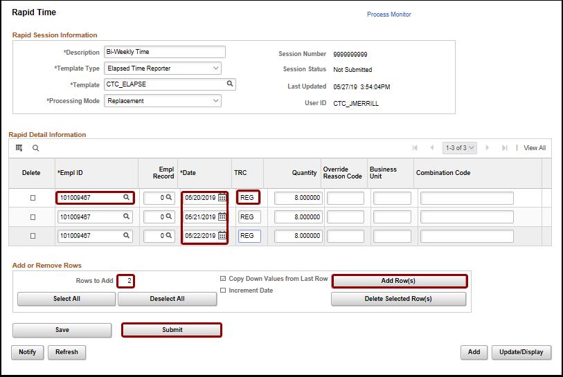 rapid detail informaton add rows submit