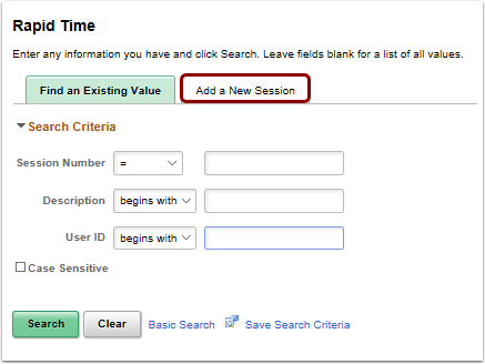 Rpaid Time search page