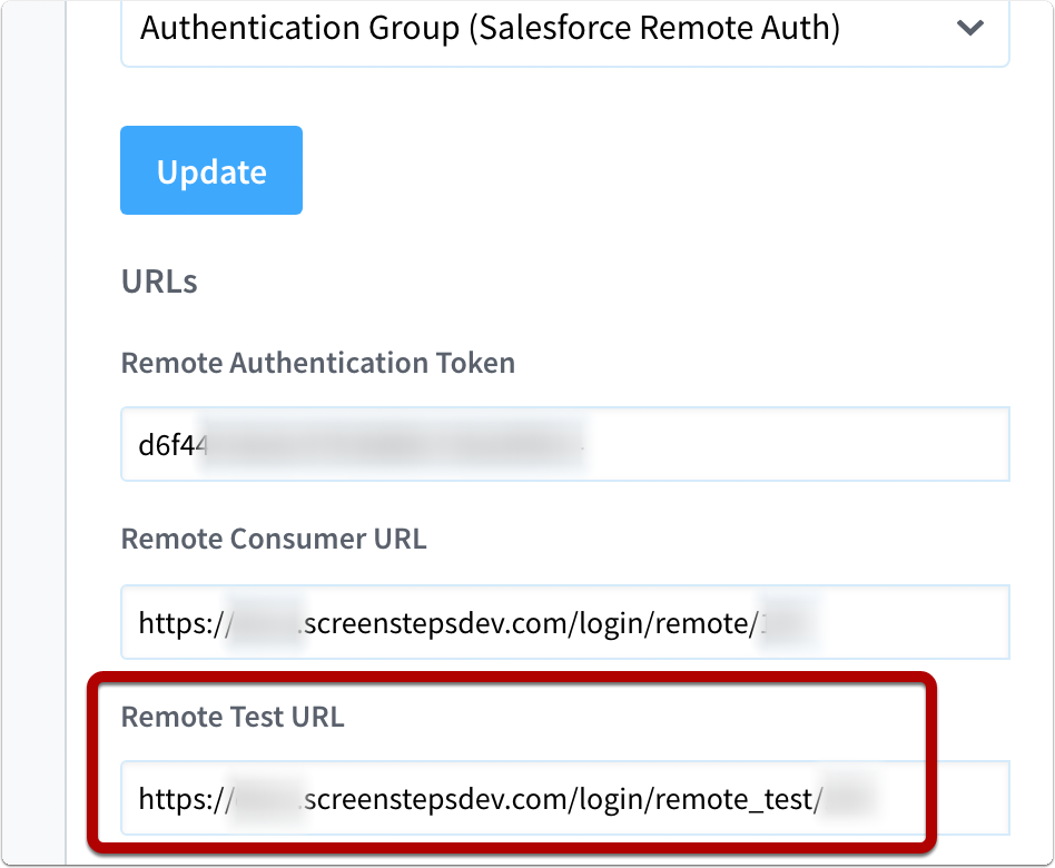 Copy remote auth test url