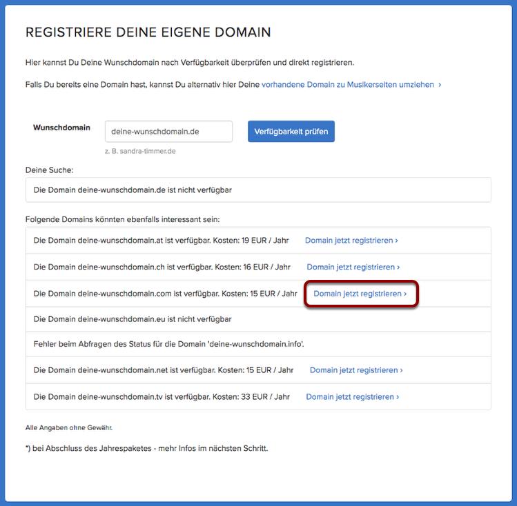 Gewünschte Domain auswählen.