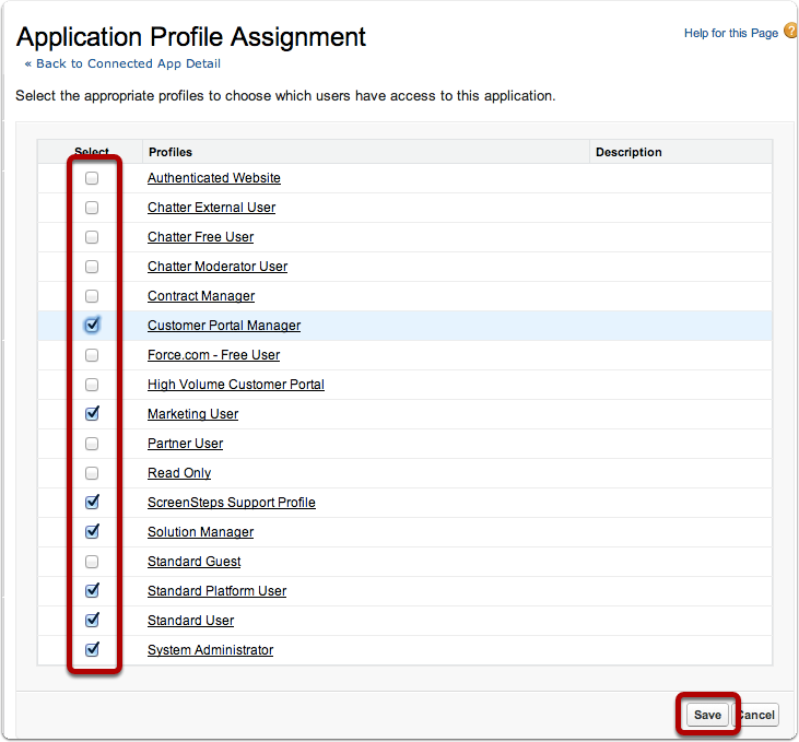 Select Profiles and Save
