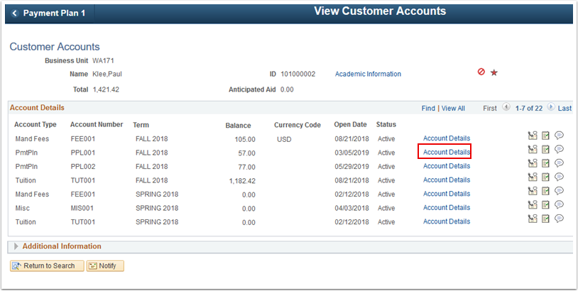 Customer Accounts page