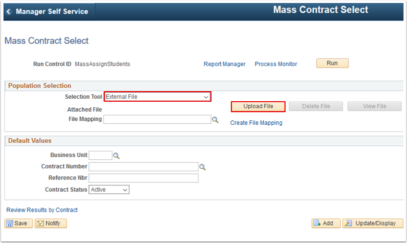 Mass Contract Select page