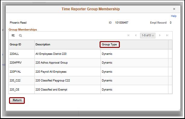 Time Reporter Group Membership