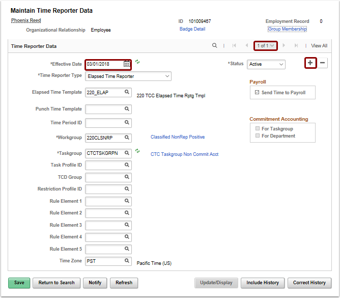 Maintain Time Reporter Data page add a new row