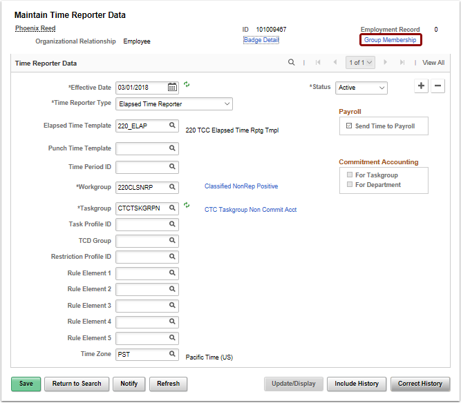 Maintain Time Reporter Data page