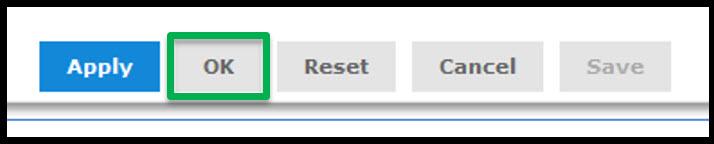 Clicking on Ok button
