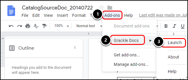 Add-ons menu in Google Doc