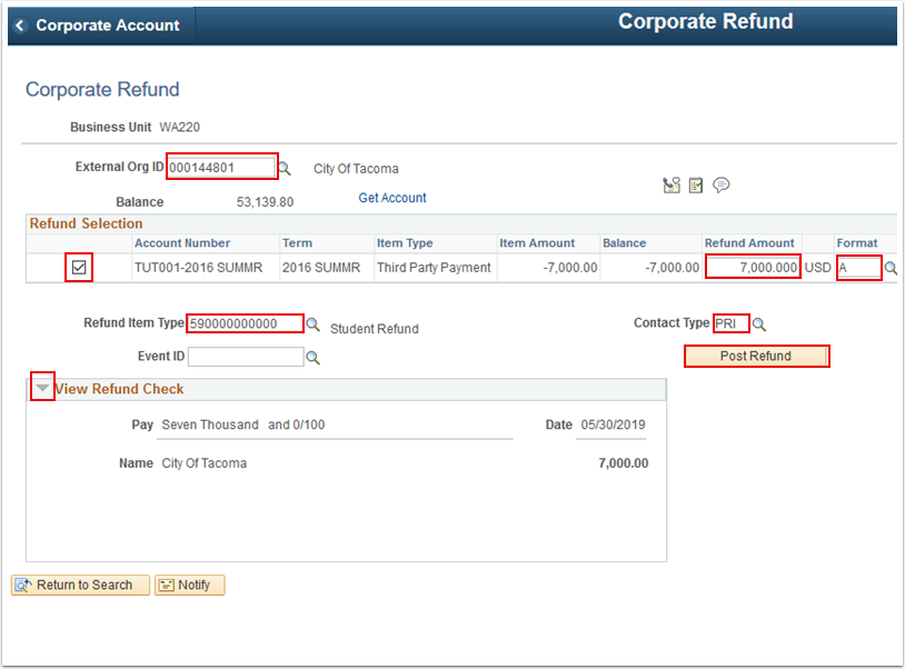 Corporate Refund page