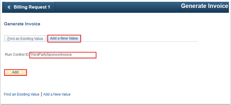 Generate Invoice Add a New Value tab