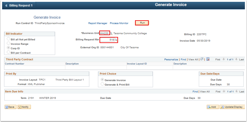 Generate Invoice page