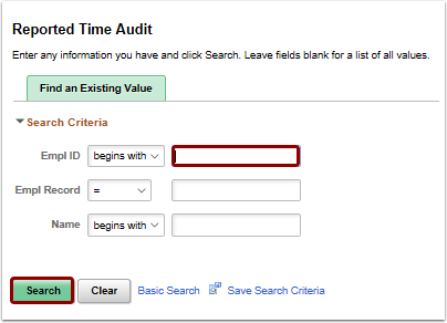 Reported Time Audit search page