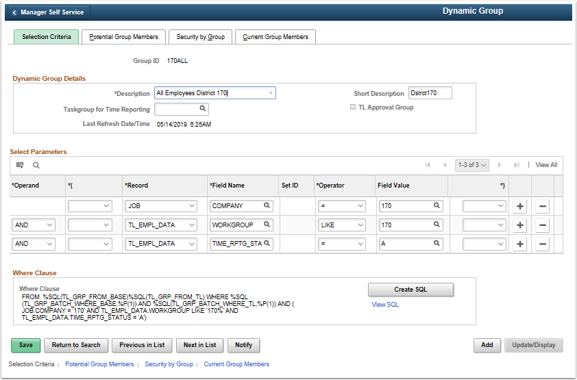 Dynamic Group page Selection Criteria tab