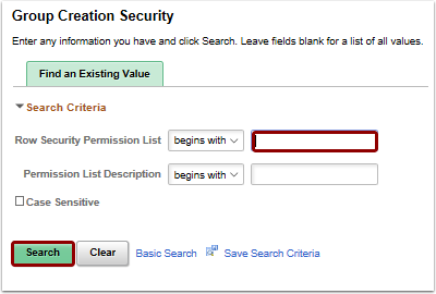 Group Creation Security search page