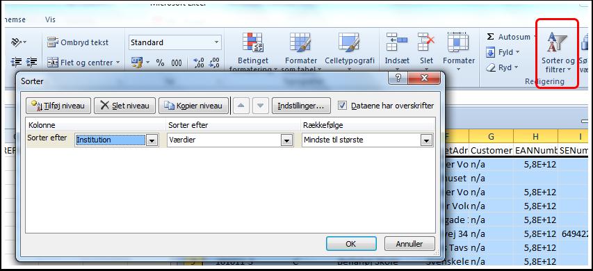 Sortering i excel af filen SQL