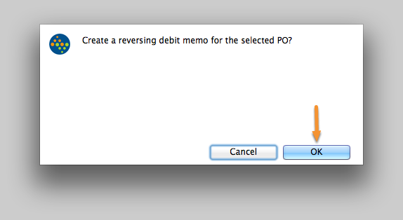 Create a reversing debit memo for the selected PO?