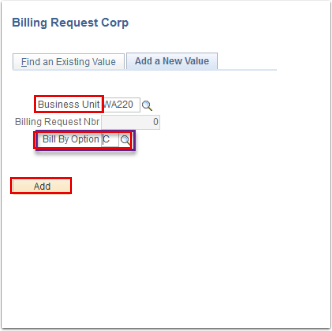 Billing Request Corp Add a New Value tab