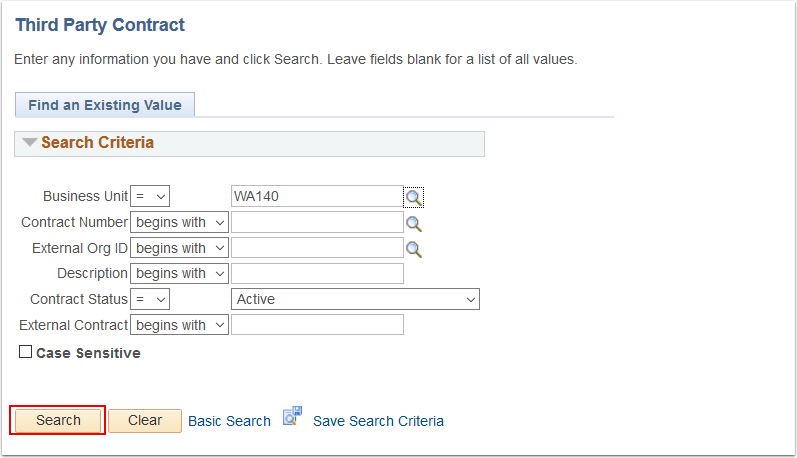 Third Party Contract search page