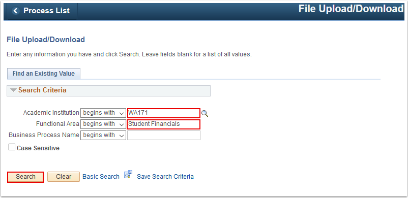 File Upload Download search page