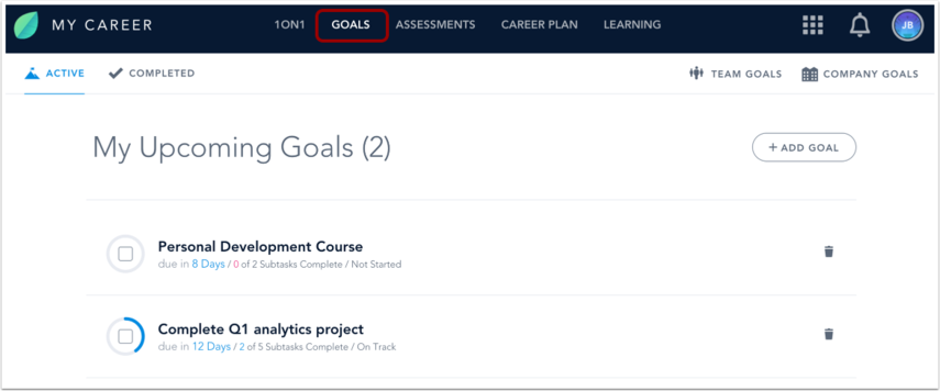 View Goals Page