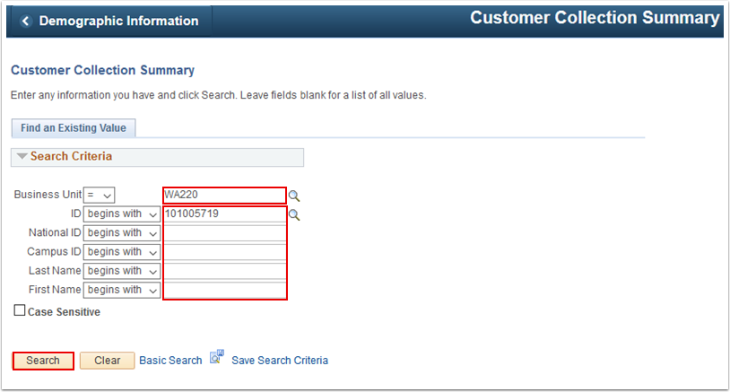 Customer Collection Summary search page