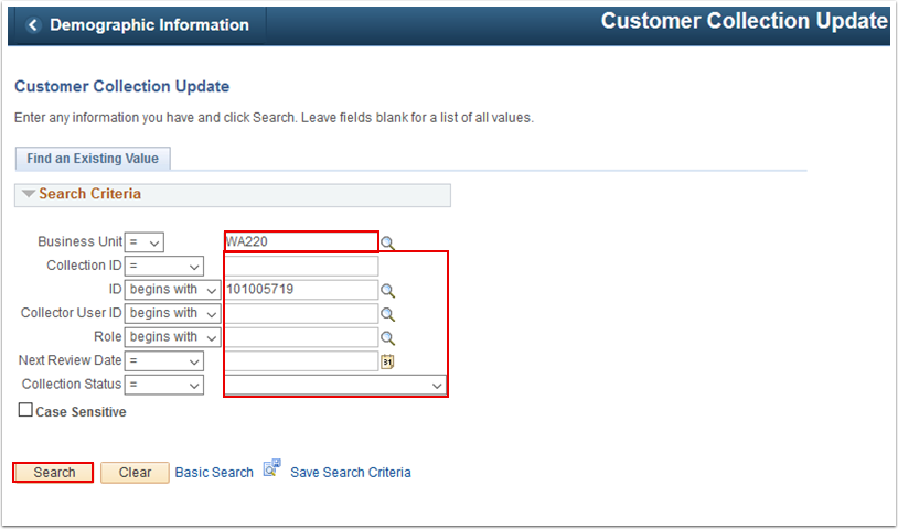 Customer Collection Update search page