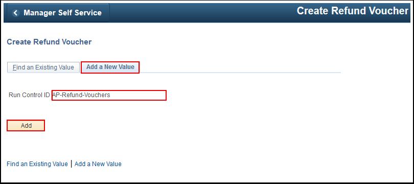 Create Refund Voucher Add a New Value tab